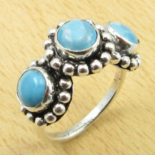 Gifts For Spouse !! Silver Plated Simulated LARIMAR DECORATIVE Ring Sz M 1/2