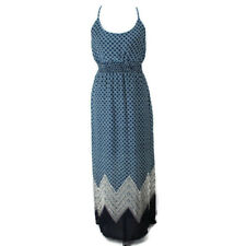 Maurices Maxi Dress Womens Sz M Blue Print Sleeveless Elastic Waist Side Slits
