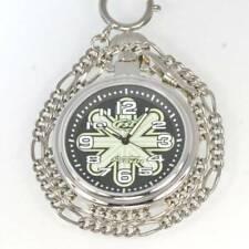 Fossil Silver Steel Black Sun Glow Easy WR Read Fob Chain Quartz Pocket Watch