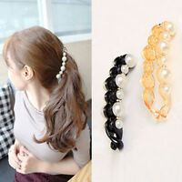 Women Black Beautiful Pearls Hairpins Hair Banana Clips Headwear Hair Accessory