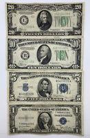 LOT of $1 $5 $10 $20 1934 1935 GREEN SEAL FEDERAL RESERVE NOTES Guaranteed!
