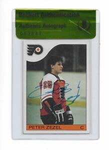FLYERS PETER ZEZEL signed autographed 1985-86 TOPPS ROOKIE CARD RC BECKETT (BAS)