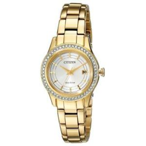 Citizen Eco-Drive Ladies Silhouette Crystal Gold Tone Watch FE1122-53P