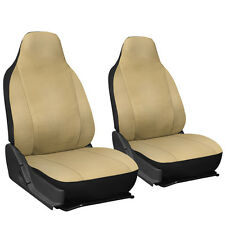 Faux Leather Car Seat Covers Solid Tan 2pc Bucket Set w/Integrated Head Rests