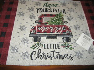 Christmas Red Truck Tree Fabric Tapestry Placemats Buffalo Check Plaid Farmhouse