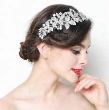 Large Women Bridal Wedding Flower Diamond Crystal Rhinestones Hair Clip Comb
