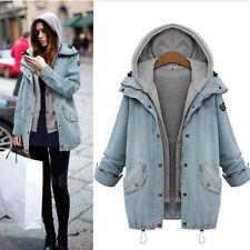 Women Warm Winter Collar Hooded Long Coat Jacket Denim Trench Parka Outwear US