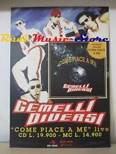 CARTONATO PROMO GEMELLI DIVERSI come piace a me 67,5 X 48 CM cd dvd vhs lp mc