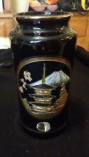 Black Vase With Chokin Decoration Pagoda Mt Fuji 24K Gold Accents