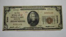 $20 1929 Heron Lake Minnesota MN National Currency Bank Note Bill Ch. #5383 RARE