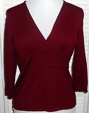 ANN TAYLOR TOP size M/10 Burgundy Red V Neck 3/4 Sleeves Women's