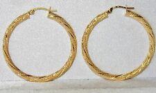 9CT YELLOW GOLD LARGE GLITTERY CREOLE HOOP LADIES EARRINGS - UK HALLMARKED