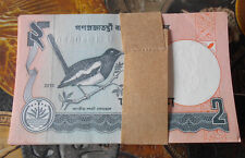 100 NOTES serial number Packet - Bangladesh 2 TAKA 2010 Bird  - GEM UNC & MINT
