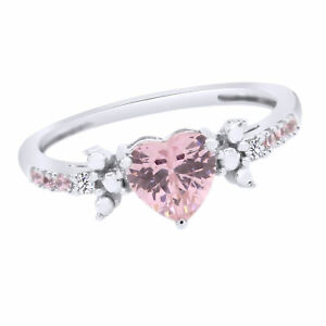 Pink Sapphire Heart Shaped Solitaire w/ Accents Wedding Promise Ring 10K Gold