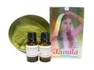Henna Oil COMBO Jamila Pro Natural Sifted Powder BAQ Mehndi Lavender Tea Tree