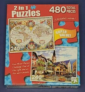 "Jigsaw Puzzle 2 in 1 Quaint Square Austria/Old Map 240 Pcs ea 11""x9"""