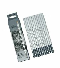 Prang Gallery Artist Charcoal Grease Pencils Paper-Wrapped Black 12//Pack Soft