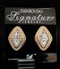 SWAROVSKI GOLD EARRINGS LARGE DIAMOND WITH PAVE CRYSTAL CLIP *NEW*