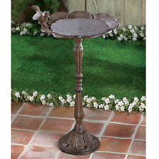 Rustic Cast Iron Floral Pattern Bird Bath Yard Garden Patio Decor
