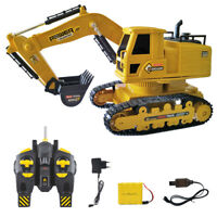 Tractor Mini 10 Channel Rechargeable Portable RC Excavator Model Kids Toy Yellow