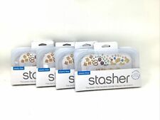 (4) Stasher Reusable Silicone Food Reusable Storage Bag-Snack Size - Clear F