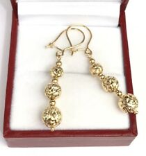 18k Solid Yellow Gold 3 Balls Dangle Leverback Earrings, Diamond Cut 2.28 Grams
