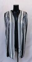 Boohoo Women's Isla Stripe Printed Cape Blazer LL1 Black Size US:8 UK:12 NWT