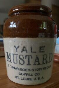 YALE MUSTARD ADVERTISING Stoneware CROCK STEINWENDER STOTFREGEN COFFEE ST LOUIS