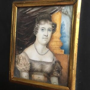 Antique Regency Portrait Miniature Of Mary Jane Colbeck, By George Wade, 1804.
