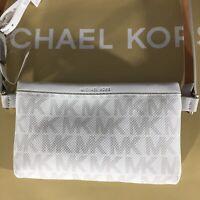 Michael Kors 551749C Leather Belt MK Logo Bag Gray Size Medium Fanny Pack $68
