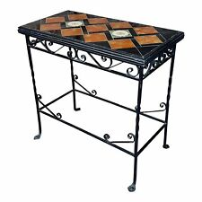 Spanish Beautiful Vintage Wrought Iron & Tile Side Table