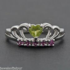 925 Sterling Silver Natural Peridot Rhodolite Garnet Stone Ring Women Jewelry UK