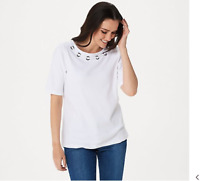 Quacker Factory Elbow-Sleeve Knit Top with Grommet Detail White 3X, A346646