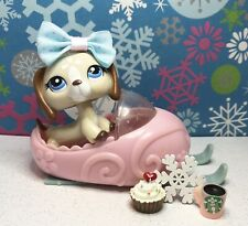 Authentic Littlest Pet Shop # 1491 Tan Brown White Dachshund Blue Eyes