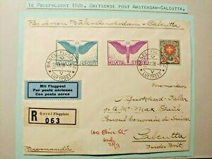1928 1ST FLIGHT COVER SWITZERLAND VIA AMSTERDAM TO INDIA CALCUTTA W99.8 $0.99