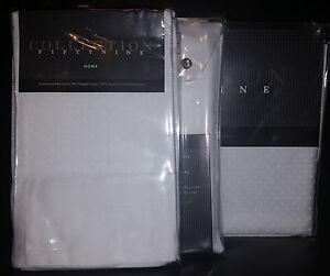 "Fiorentino Dobby Dot White 18"" King Bedskirt/Shams Set 305TC Luxurious Italy NWT"