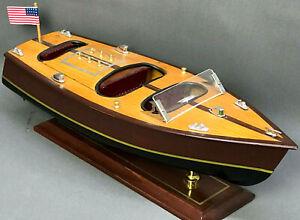 "14"" Vintage RUNABOUT SPEEDBOAT - Handmade Model Wooden speed motor boat wood"