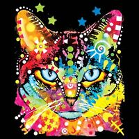 Blue Eyes Neon Kitty Cat Face T Shirt Feline Womens Black Shirts Small to 3XL