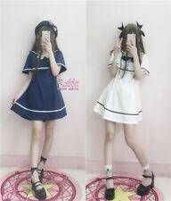 Japanese Lolita Kawaii Preppy Style Navy Wind Small Cloak Dress Harajuku Gothic