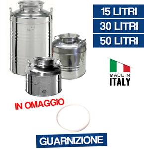 CONTENITORE BIDONE FUSTO PER OLIO IN ACCIAIO INOX 15 30 50 LT MADE ITALY 36183V/