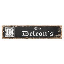 SPFN0460 The DELEON'S Family Name Street Chic Sign Home Decor Gift Ideas