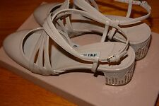 NIB MUI MUI Heel Strappy Shoe with Crystals Heel $890