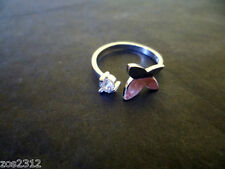 925 Sterling Silver Plated Crystal Butterfly Finger Midi Toe Ring Free P&P New