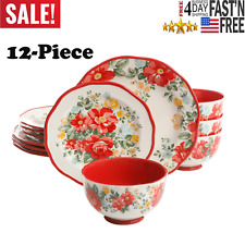 The Pioneer Woman Vintage Floral 12-Piece Dinnerware Set, Red - Free Shipping