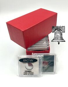 15 BCW Coin Holder 2x2 Snap Capsule & Red Single Row Storage Box 4.5x2x2 Case