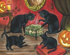 11X14 PRINT OF PAINTING RYTA HALLOWEEN DYBBUK BOX BLACK CAT HAUNTED SPIRIT GHOST
