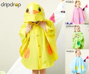 Childrens Raincoat Child Rain Mac Coat Animal Duck Dinosaur Cat Pink Yellow Blue