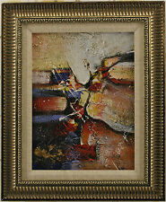 Abstract Red White Blue Yellow Splash Lines Modern Decor art FRAMED OIL PAINTING