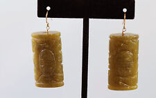 Greenwood Designs Korean Jade Carved Dangle Earrings 14k gf Gold Hook Earwire