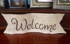 Primitive Wired Jute Natural Burlap Welcome Banner Sign Country Wedding Rustic